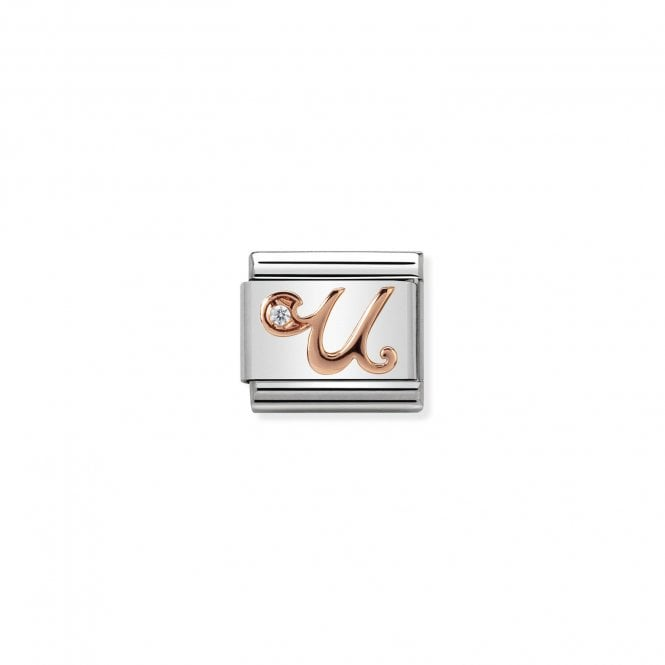 NOMINATION Classic Rose Gold and CZ Letter U Charms