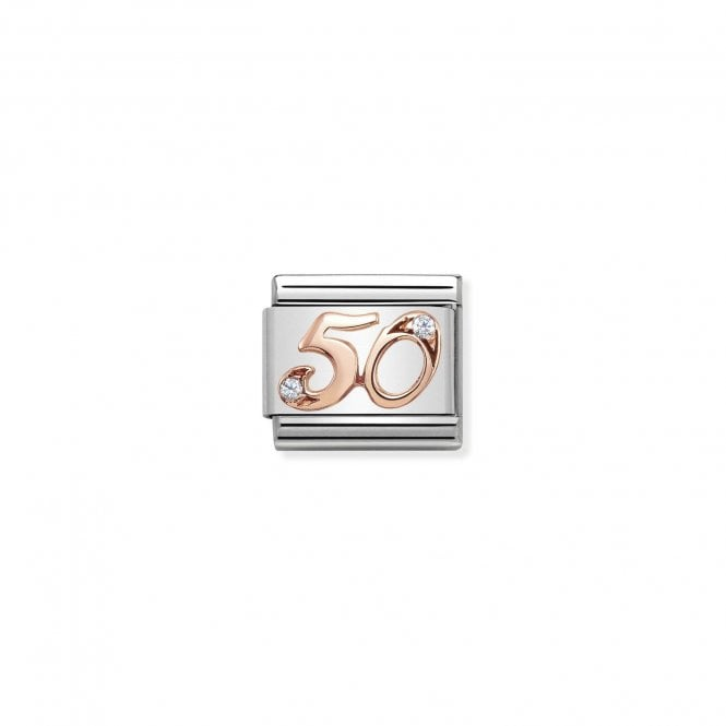 NOMINATION Classic Rose Gold and CZ Number 50 Charms