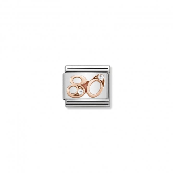 NOMINATION Classic Rose Gold and CZ Number 80 Charms
