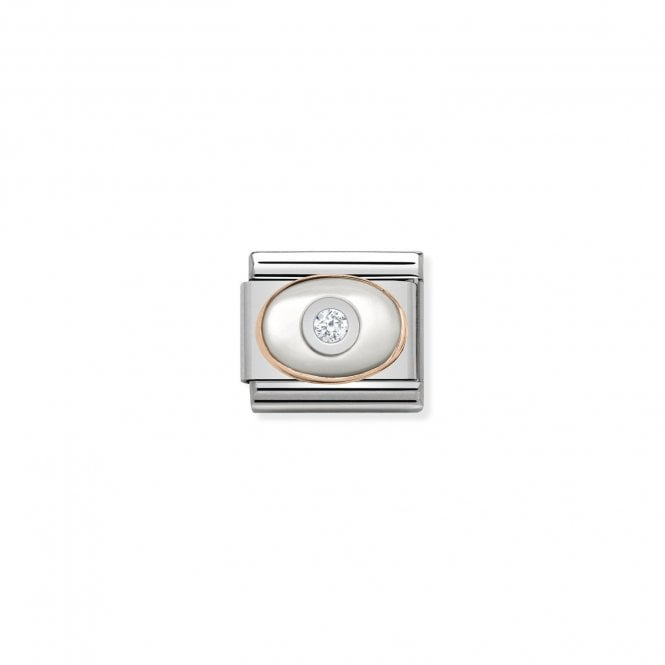 NOMINATION Classic Rose Gold and CZ White Mother of Pearl Charms