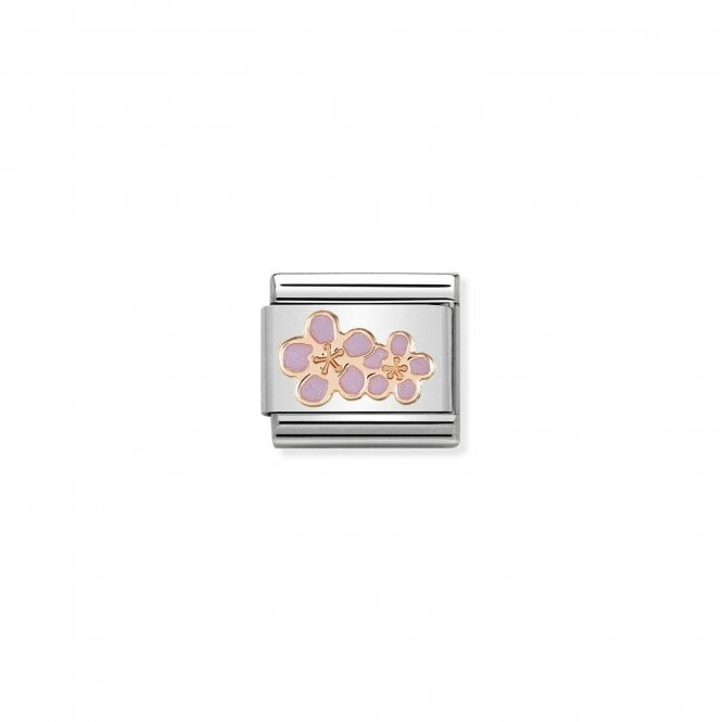NOMINATION Classic Rose Gold and Enamel Peach Blossom Flowers Charms