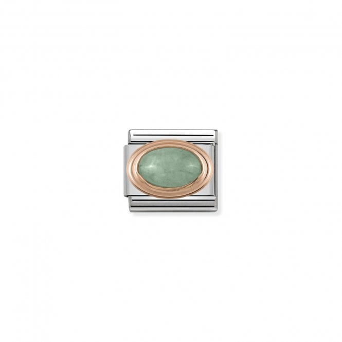 NOMINATION Classic Rose Gold and Green Aventurine Oval Charms