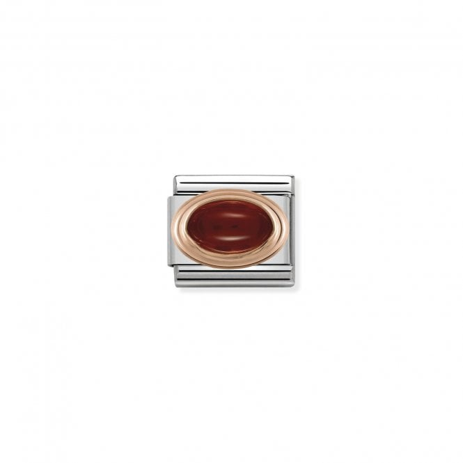 NOMINATION Classic Rose Gold and Red Garnet Oval Charms