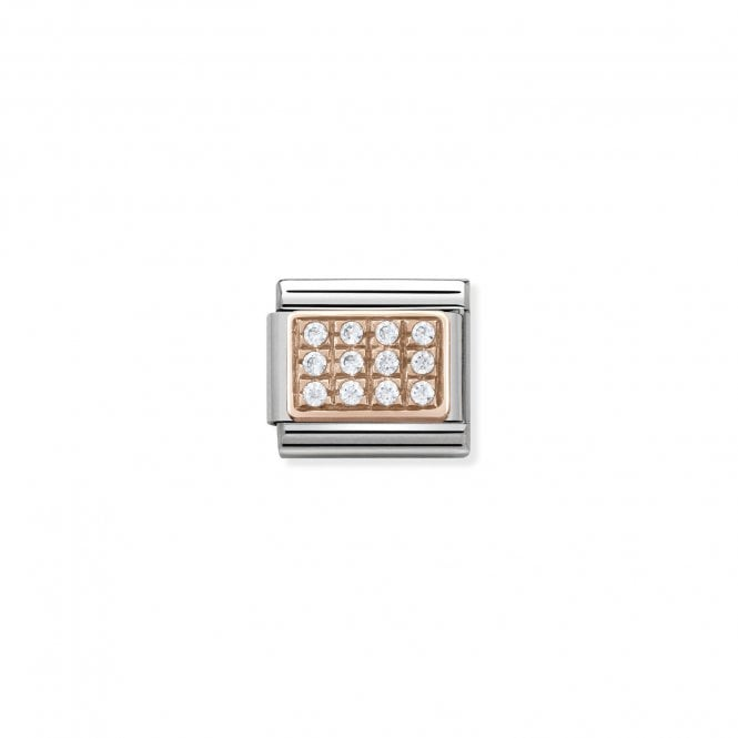 NOMINATION Classic Rose Gold and White Pave CZ Charms