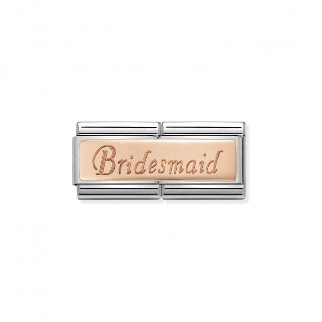NOMINATION Classic Rose Gold Engraved Double Plate Bridesmaid Charms