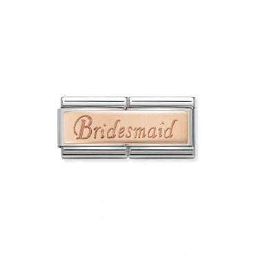 Classic Rose Gold Engraved Double Plate Bridesmaid Charms