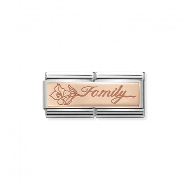 NOMINATION Classic Rose Gold Engraved Double Plate Family with Flower Charms