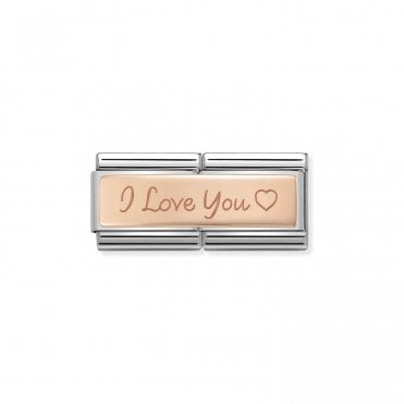 Classic Rose Gold Engraved Double Plate I Love You Charms