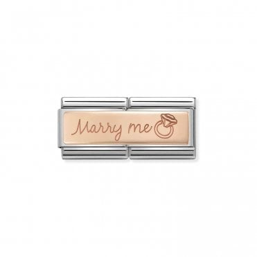 Classic Rose Gold Engraved Double Plate Marry Me Charms