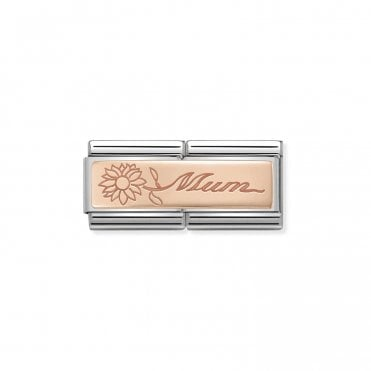 Classic Rose Gold Engraved Double Plate Mum with Flower Charms 3b585612e
