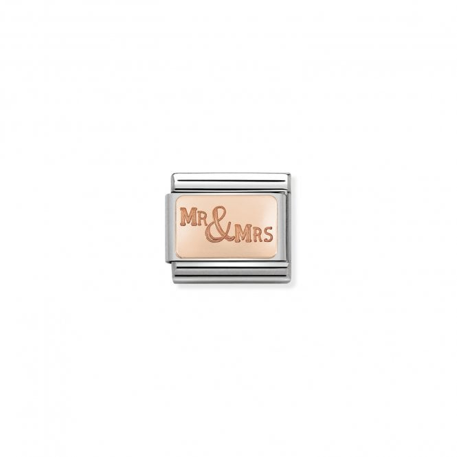 NOMINATION Classic Rose Gold Engraved Mr and Mrs Charms