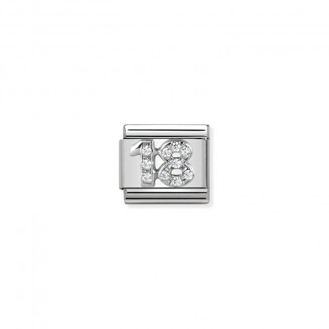 NOMINATION Classic Silvershine Silver and CZ Number 18 Charms