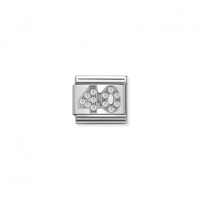 NOMINATION Classic Silvershine Silver and CZ Number 40 Charms