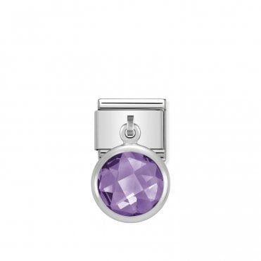 Classic Silvershine Silver and Purple CZ Hanging Pendant Charms