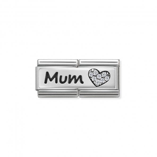 Nomination Classic Silvershine Silver Double Plate Mum with a CZ Heart Charms