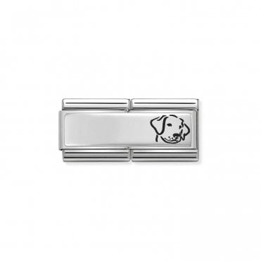 Classic Silvershine Silver Engravable Double Plate Black Enamel Dog Charms