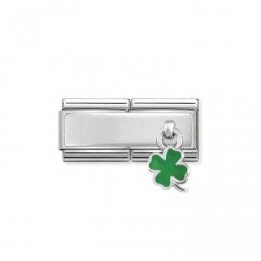 Classic Silvershine Silver Engravable Double Plate Green Enamel Four-Leaf Clover Hanging Pendant Charms