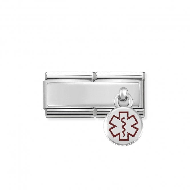 Nomination Classic Silvershine Silver Engravable Double Plate Red Enamel Medical Tag Hanging Pendant Charms