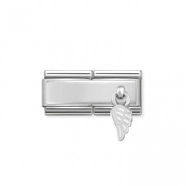 Classic Silvershine Silver Engravable Double Plate White Enamel Wing Hanging Pendant Charms
