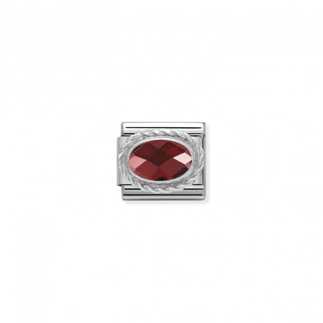Nomination Classic Silvershine Silver Faceted Red CZ Oval Charms