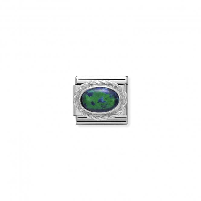 Nomination Classic Silvershine Silver Green Opal Oval Charms