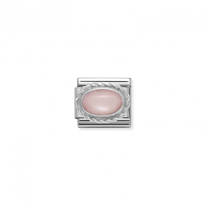 Nomination Classic Silvershine Silver Oval Pink Opal Semi Precious Charms