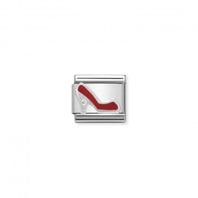 Nomination Classic Silvershine Silver Red Enamel and CZ High Heeled Shoe Charms