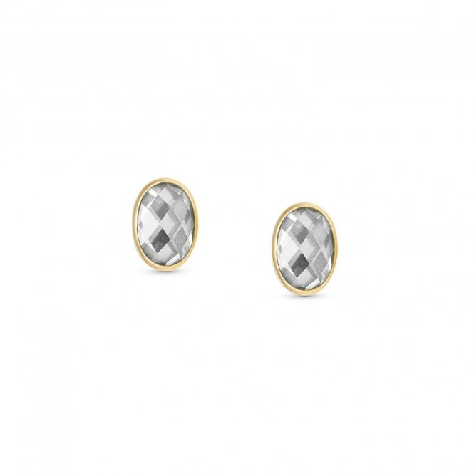 Nomination CZ and Gold Faceted Oval Stud Earrings