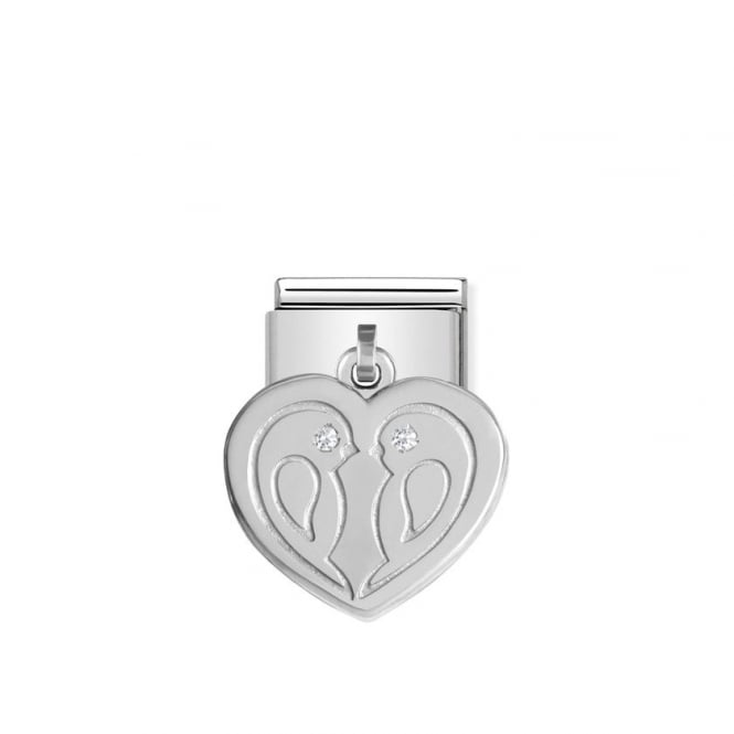 NOMINATION Dangly Silver & CZ Lovebirds Love Charms
