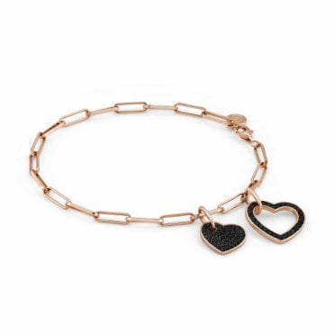 Emozioni Rose Gold Plated Bracelet with Black CZ Heart Charms.
