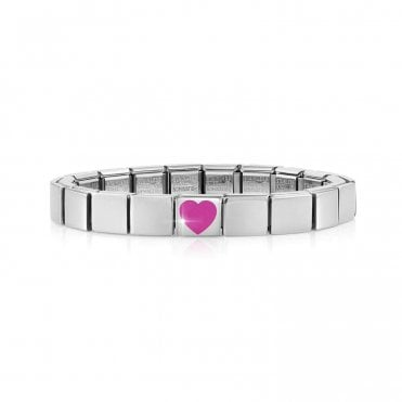 Glam Bracelet with Pink Enamel Heart Charm