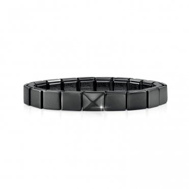Glam Gunmetal Black Bracelet with Pyramid Charm