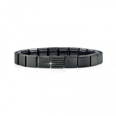 Glam Gunmetal Black Bracelet with Striped Charm