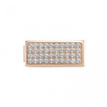 Glam Rose Gold Double Width Pave CZ Charm