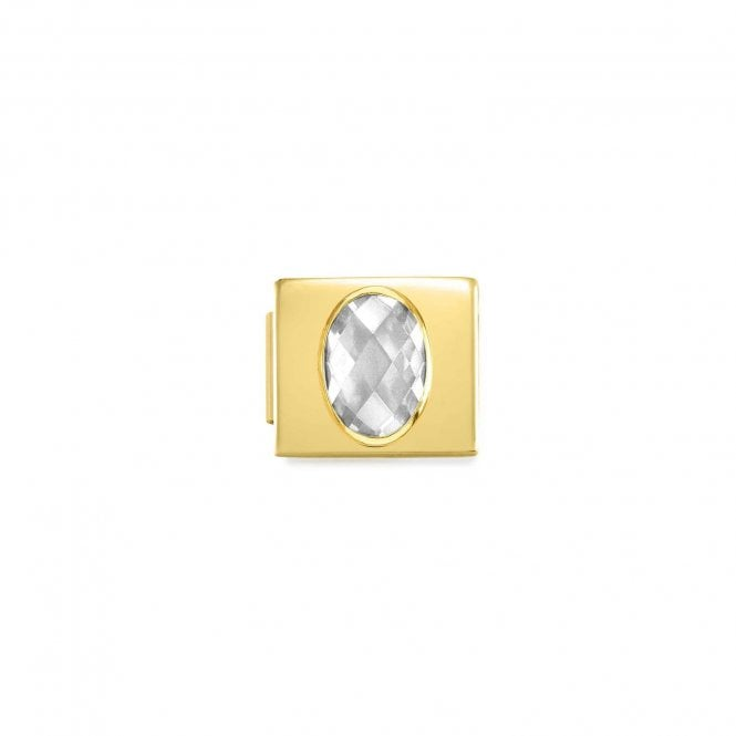 Nomination Gold Glam Faceted Oval CZ Charms
