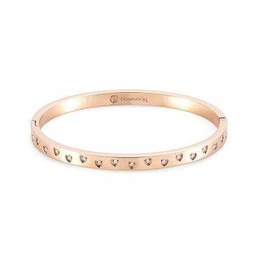 Infinito Bangle with Cubic Zirconia in Rose Gold