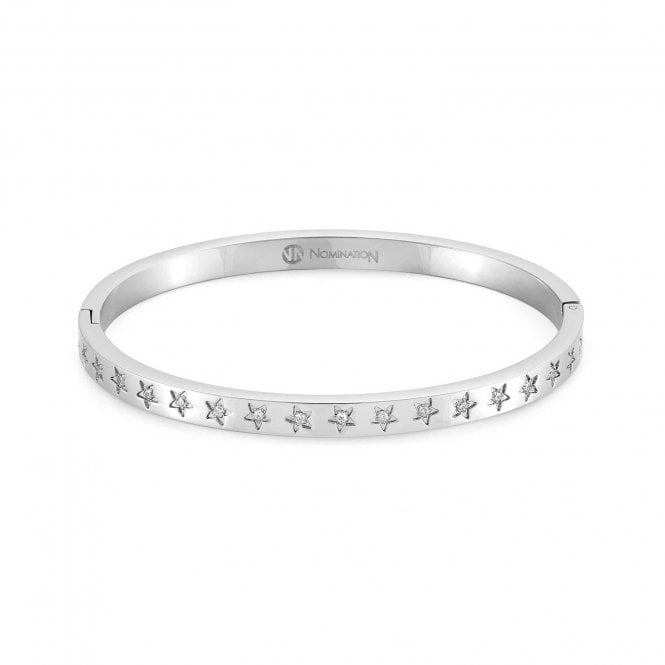 Nomination Infinito Bangle with Cubic Zirconia in Silver Steel