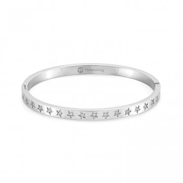 Infinito Bangle with Cubic Zirconia in Silver Steel