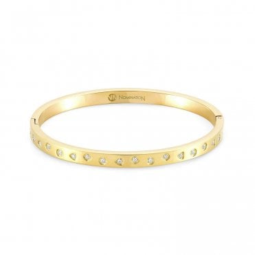 Infinito Bangle with Cubic Zirconia in Yellow Gold
