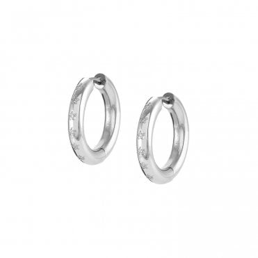 Infinito Earrings with Cubic Zirconia in Silver Steel