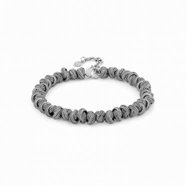 Instinct Volcano Bracelet in Antique Steel with Intertwined Rings