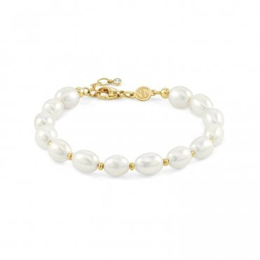 Kate Bracelet in Silver with White Pearls and Yellow Gold