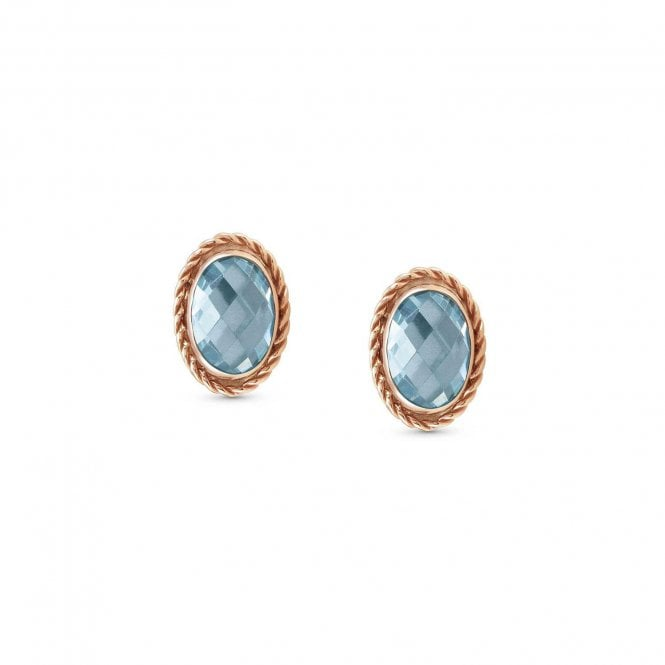 Nomination Light Blue CZ and Rose Gold Faceted Oval Stud Earrings