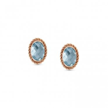 Light Blue CZ and Rose Gold Faceted Oval Stud Earrings
