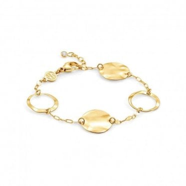 Luna Double Chain Gold Plated Large Circles Bracelet