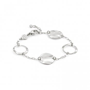 Luna Double Chain Large Silver Circles Bracelet