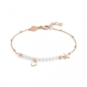NOMINATION Melodie Rose Gold & White Pearls Heart Bracelet
