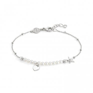Melodie Silver & White Pearls Heart Bracelet