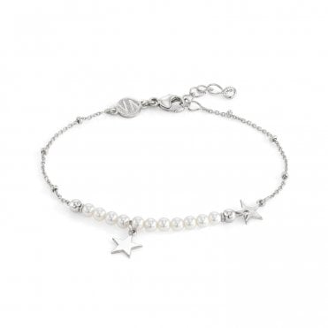 Melodie Silver & White Pearls Star Bracelet