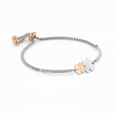 Milleluci Interlocking Four-Leaf Clovers Bracelet in Silver with CZ Pave and Rose Gold